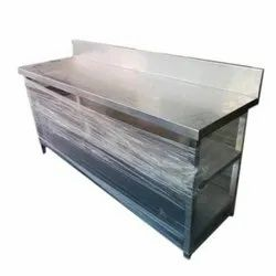 Mirror Finish Commercial Stainless Steel Work Table, For Restaurant, Size: 48 X 24 X 34+6 Inch