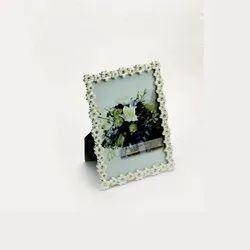 Single Layer Camellia Festooned Silver Photo Frame