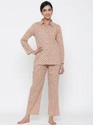 JKLW4358 Jaipur Kurti Women Beige Floral Printed Straight Cotton Sleepwear