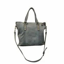 Women Plain Ladies Gray Leather Bag