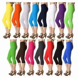 Satin Plain Ladies Capri Legging, Size: XL