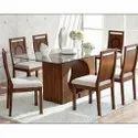 Modern Glass Top Wooden Dining Table Set