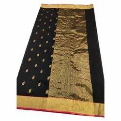 Party Wear Handwoven Black Silk Cotton Saree, Dry clean, 5.5 m (separate blouse piece)