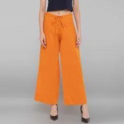 Janasya Women's Orange Pure Cotton Palazzo Pant(BTM042)