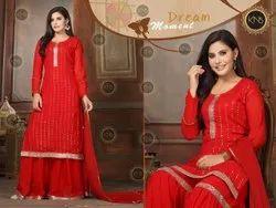 Designer Red Sharara Suit