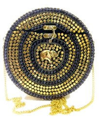 Metal Women's Handmade Ethnic Sling Bag Round Shape Clutches - Golden