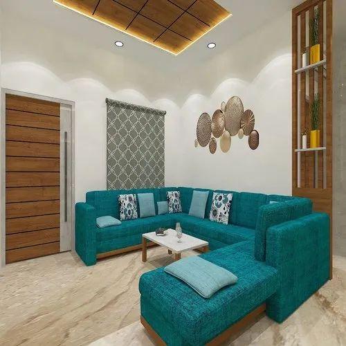 Living Room Interior Design Service, Work Provided: Wood Work & Furniture