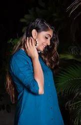 Dehmi Casual Wear Rayon Dark Blue Plain Kurti, Size: S To XXL, Wash Care: Machine wash