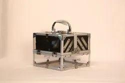 Aluminium And Glass Moi Moi Makeup Vanity Boxes, Rectangular