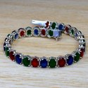 925 Sterling Silver Design Jewelry Ruby And Multi Gemstone Bracelet SJWBR-256