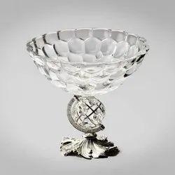 Designer Glass Globe Silver Bowl