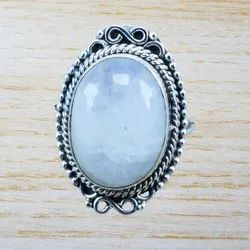 Fine 925 Sterling Silver Rainbow Moonstone Ring
