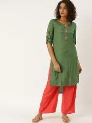 Jaipur Kurti Olive Green Embroidered Straight Kurta