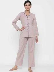 Jaipur Kurti Women Pink Solid Straight Cotton Blend Sleepwear