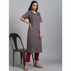 Janasya Women's Grey Rayon Kurta(JNE3579)