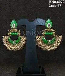 Traditional Hanging Meenakari Pearl Earrings
