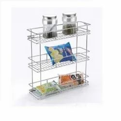 Silver Stainless Steel 6x20x21 3 Shelf Pull Out Basket, Size: 6 X 20 X 21 Inch, Capacity: 20 Kg