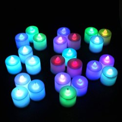 Multicolor Pillar Smokeless Coloring Candles (Set Of 24)
