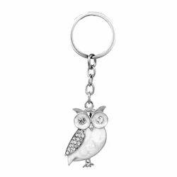 Crystals Embedded White Owl Keychain