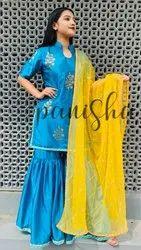Cotton Unstitched Blue Silk Embroidery Suit, Handwash