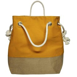 Shoulder Bag Yellow Jute Bucket Handbag, For Casual Wear, Size: 16 X 14 Inch