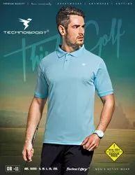Plain Polyester Technosport Mens Half Sleeve Black Polo Cotton T Shirt, Size: M - XXL