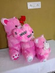 FUR (Upper Material) 3 Piece Pink Stuffed Teddy Bear, For Gifting Purpose