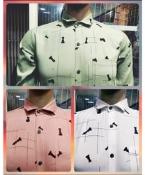 Printed Collar Neck Mens Stylish Casual Wear Cotton Shirts
