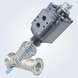 2/2 Way Aluminium Actuator Angle Type On / Off Control Valve Triclover Ends
