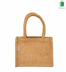 Handled Natural Juteberry Small Jute Gift Bag, Capacity: 2-3 Kgs, Size/Dimension: 8 X 6 X 4 Inches