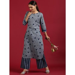 Janasya Women's Gray Cotton Kurta With Palazzo (SET226)