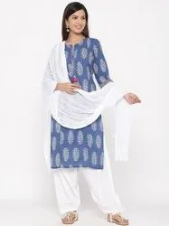 Jaipur Kurti Women Blue Ethnic Motif Straight Cotton Kurta With Salwar and Dupatta