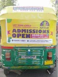 Vinyl Banner Auto Rickshaw Advertising, Mode Of Advertising: Outdoor, Size: 3 X 1.5 Feet