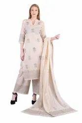 Casual Wear 3/4th Sleeve Straight Cotton Kurta Palazzo Suits, Wash Care: Machine wash