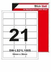 A4 LABEL SHEET LS21L ( 64mm X 38mm ) STICKWELL