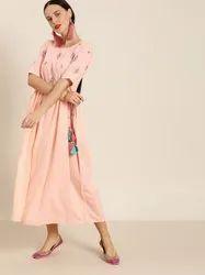 Jaipur Kurti Peach Embroidered Flared Dress