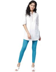 Jaipur Kurti Women Turquoise Solid Cotton Lycra Leggings