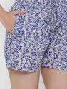 Jaipur Kurti Women Blue Abstract Print Straight Cotton Sleepwear
