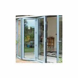 Aluminium Powder Coated Aluminum Glass Folding Door, For Home, Thickness: 1.5 Mm(frame)