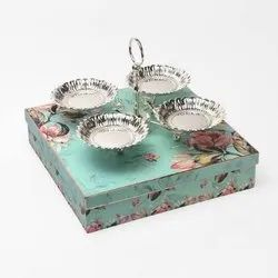 Four-In-One Flower Shaped Silver Bowl Set