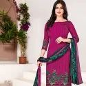 Low Range Heavy Crepe Churidar Unstitched Dress Material - 12 Pcs Set