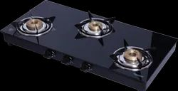 Hindtech Stainless Steel Three Burner Lpg Gas Stove, Size: 2.5