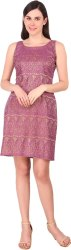 Printed Net And Sathan Sheath Purple Dress, Size: Medium