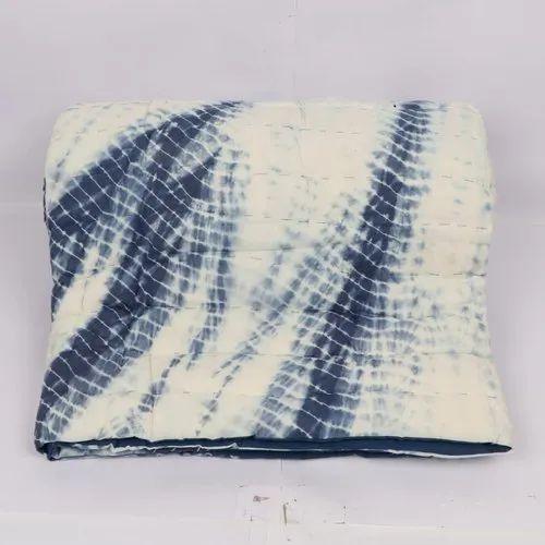 Handmade Jaipuri Shibori Printed Cotton Quilt