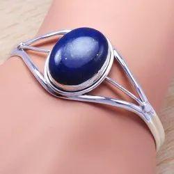 925 Sterling Silver Jewelry Lapis Lazuli Gemstone Bangle SJWB-19