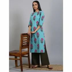 Janasya Women's Turquoise Green Cotton Kurta With Palazzo(SET241)