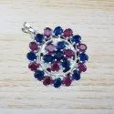 925 Sterling Silver Star Design Ruby And Multi Gemstone Jewelry Pendant