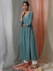 Janasya Women's Green Weaved Cotton Kurta(J0151)