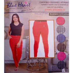 Plain Ladies Red Cotton Jeggings