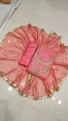 Designer Pure Chanderi Salwar Suit Material (4 Pcs Set)